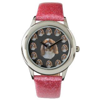 Cavalier Spaniel Dog Face Pattern, Girls Glitter Watch