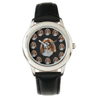 Cavalier Spaniel Dog Face Pattern, Kids Leather Watch