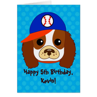 Cavalier Spaniel with baseball cap Card