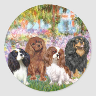 Cavaliers (4) - in Monet's Garden Classic Round Sticker