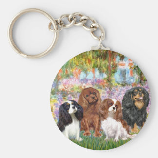 Cavaliers (4) - in Monet's Garden Basic Round Button Key Ring