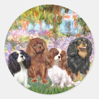 Cavaliers (4) - in Monet's Garden Round Sticker