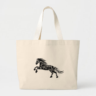 Cavallerone - black horse large tote bag