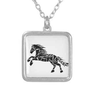 Cavallerone - black horse silver plated necklace