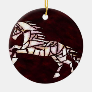 Cavallerone - white horse ceramic ornament