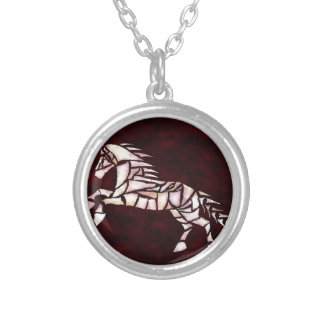 Cavallerone - white horse silver plated necklace