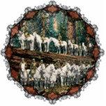 Cavalry Troop on Redwood Tree Vintage Ornament Photo Sculptures