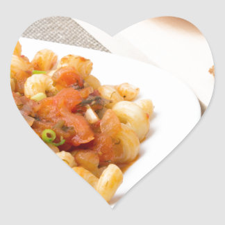 Cavatappi Pasta with sauce of stewed vegetables Heart Sticker