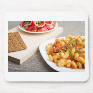 Cavatappi Pasta with sauce of stewed vegetables Mouse Pad
