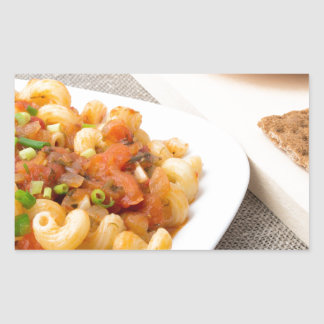 Cavatappi Pasta with sauce of stewed vegetables Rectangular Sticker