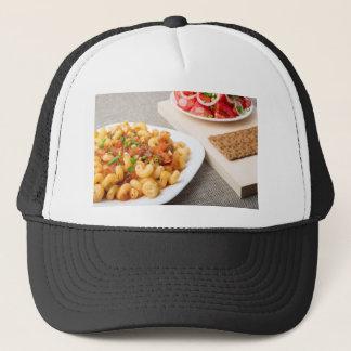 Cavatappi Pasta with sauce of stewed vegetables Trucker Hat