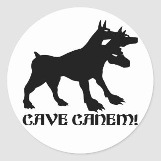 CAVE CANEM - BEWARE OF DOG Latin Round Sticker