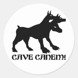 CAVE CANEM - BEWARE OF DOG Latin Round Sticker