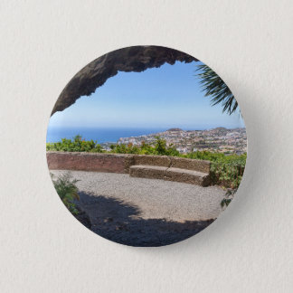 Cave outlook on sea and village on Madeira 6 Cm Round Badge