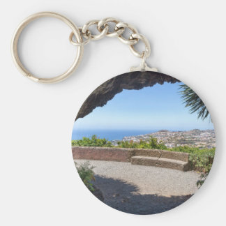 Cave outlook on sea and village on Madeira Basic Round Button Key Ring