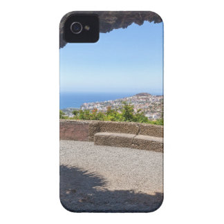 Cave outlook on sea and village on Madeira iPhone 4 Case