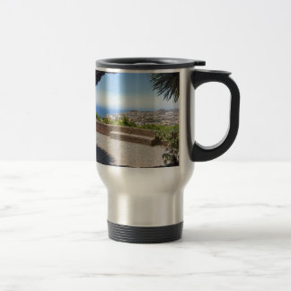 Cave outlook on sea and village on Madeira Travel Mug