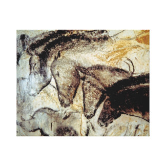 Cave Painting of Horses on Canvas Stretched Canvas Print