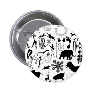 cave paintings - primitive art 6 cm round badge