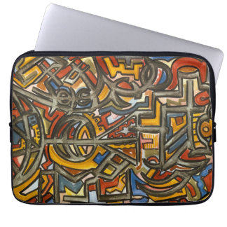 Cave Symbols-Modern Art Watercolor Laptop Sleeve