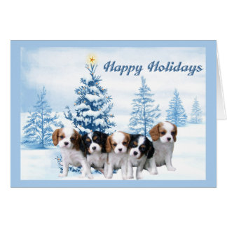 Cavelier King Charles Spaniel Christmas Card Blue