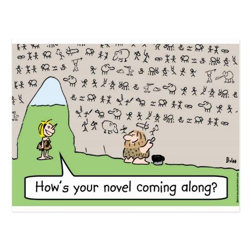 caveman cave painting novel postcard