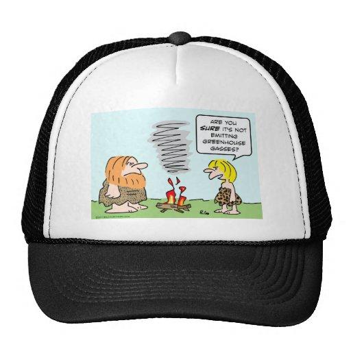 caveman fire greenhouse gases emission trucker hat