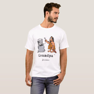 Caveman Grandpa using the computer T-Shirt