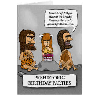 Cavemen and Cavewoman Wait for Fire Greeting Card