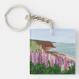 Cavendish Cliffs and Spring Lupins, PEI Double-Sided Square Acrylic Key Ring