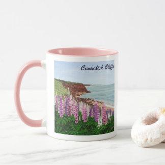 Cavendish Cliffs and Spring Lupins, PEI Mug