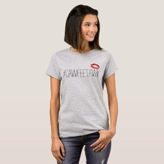 #cawfeetawk grey t-shirt (with lips)