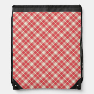 Cayenne and Coral Pink Fashion Plaid Drawstring Bag