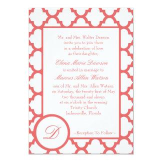 Cayenne Quatrefoil Monogram Wedding Invitation