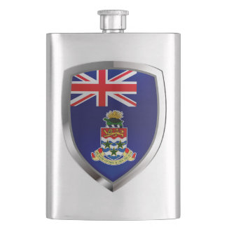 Cayman Islands Mettalic Emblem Hip Flask