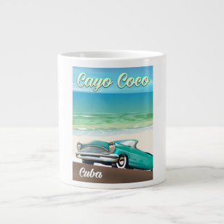 Cayo Coco cuban vacation poster Large Coffee Mug
