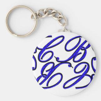 CB Design-Blue Basic Round Button Key Ring