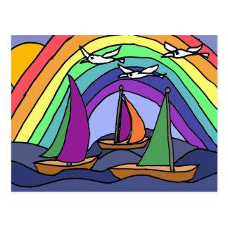 CB- Folk Art Sailing Cartoon Postcard