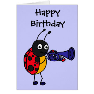 CB- Ladybug Playing Trumpet Cartoon Card