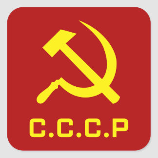 CCCP Hammer and Sickle Square Sticker