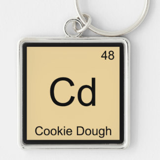 Cd - Cookie Dough Chemistry Element Symbol T-Shirt Silver-Colored Square Key Ring