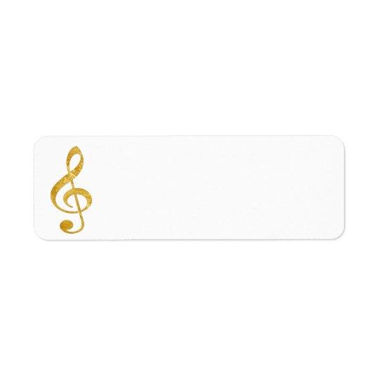 CD gold foil look clef music Return Address Label