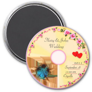 CD Label Wedding Keepsake 7.5 Cm Round Magnet