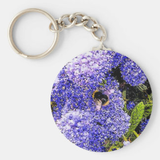 Ceanothus Flower Bee Basic Round Button Key Ring