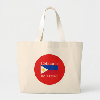 Cebuano Language And Philippines Flag Large Tote Bag