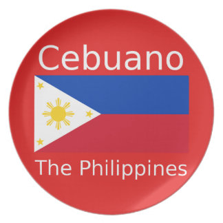 Cebuano Language And Philippines Flag Plate