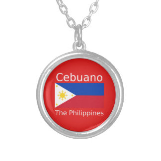 Cebuano Language And Philippines Flag Silver Plated Necklace