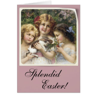 Cecily Vintage Floral Easter Card with Bunny