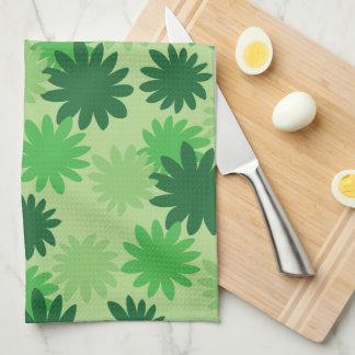 Cecropia Leaf Pattern Green Kitchen Towel