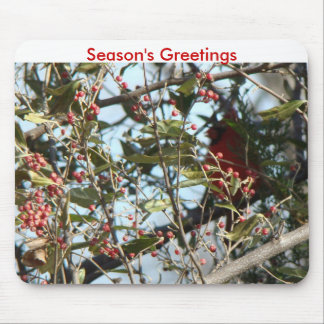 Cedar, Cardinal&Red Berries-Season's Greetings Mouse Pad